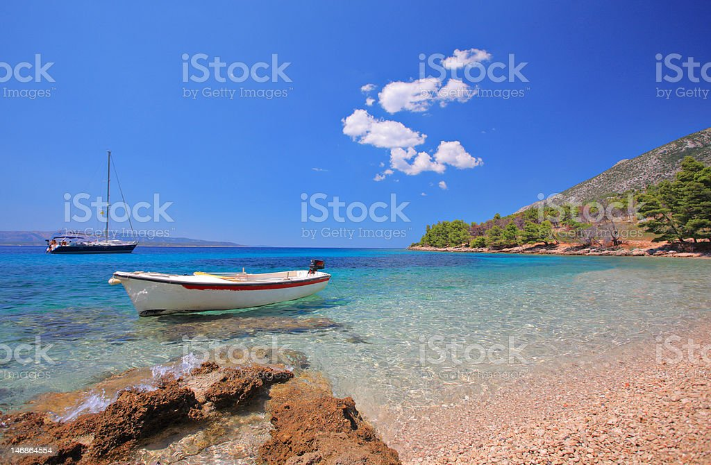 Boats at bay on the island of Brac stock photo