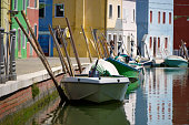 Boats at Burano in Italy