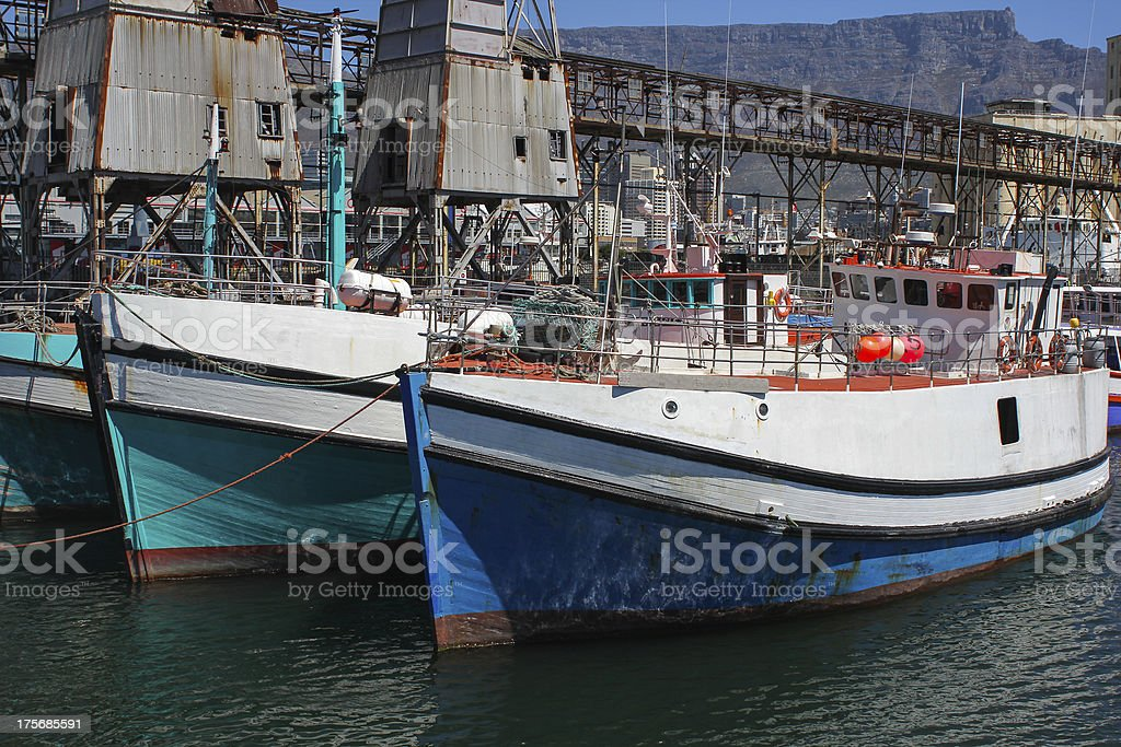 Boats at Cape Town Harbor royalty-free stock photo