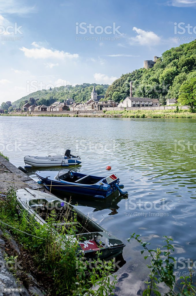 Boats at Dinant stock photo
