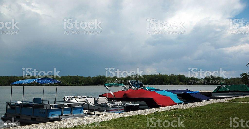 Boats at dock stock photo