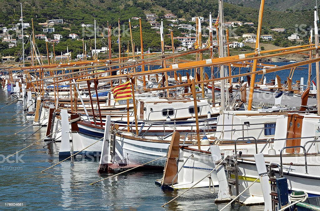Boats at El Port de la Selva in Spain royalty-free stock photo