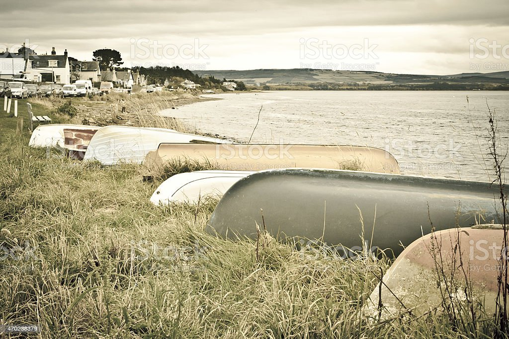 Boats at Findhorn stock photo