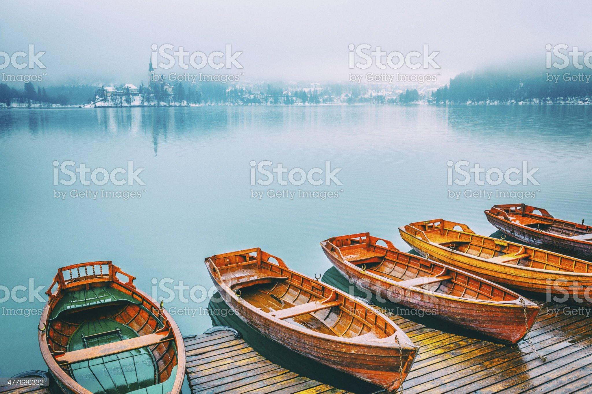 Boats at lake Bled royalty-free stock photo