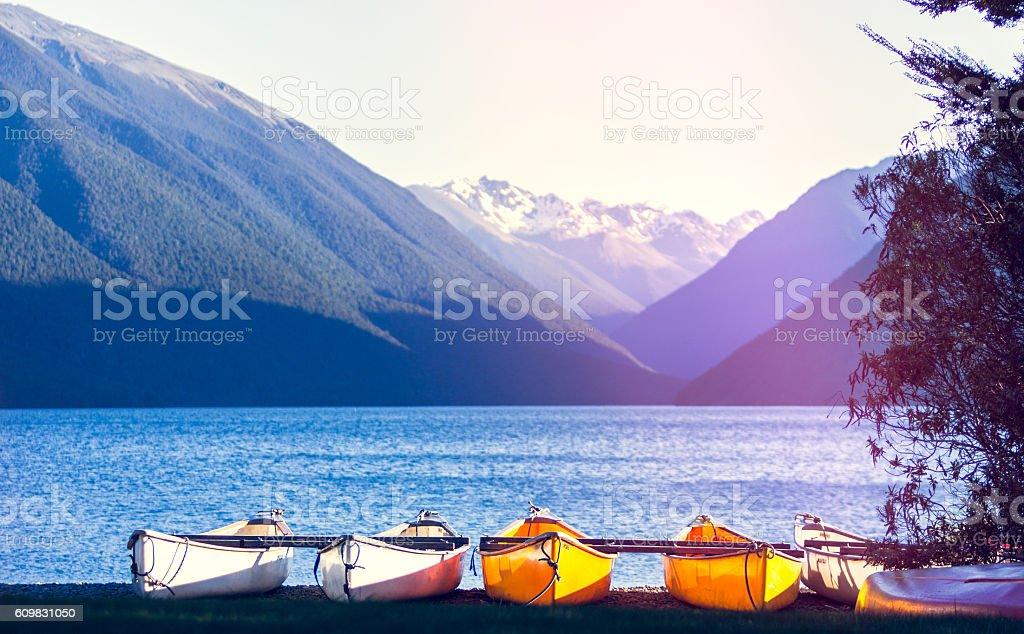 Boats at Lake Rotoiti stock photo
