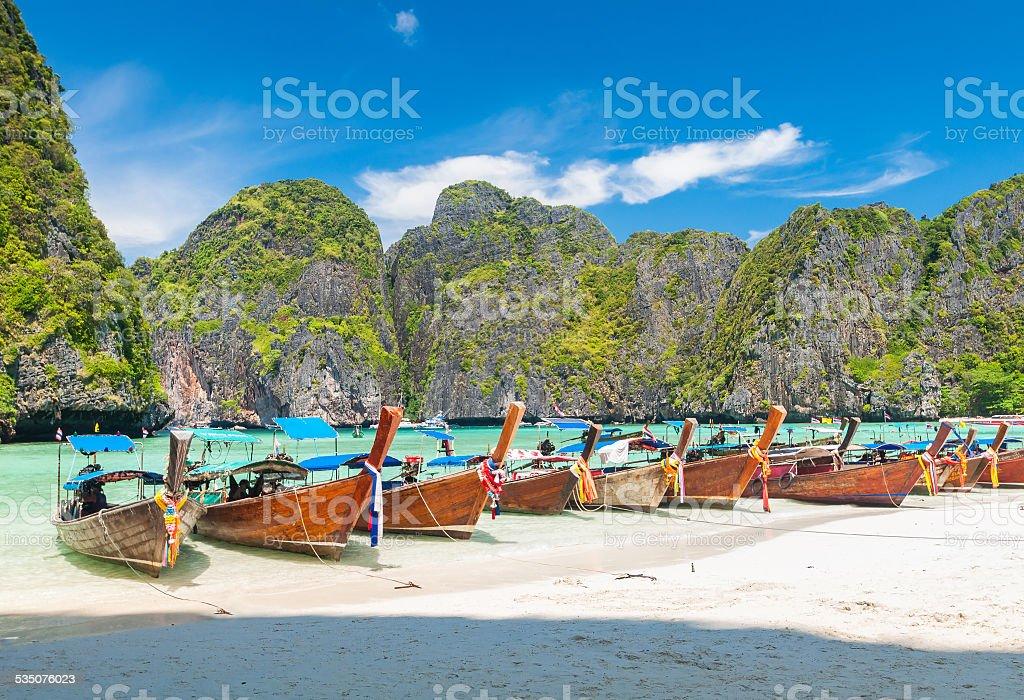 boats at Maya bay Phi Phi Leh island, Thailand stock photo
