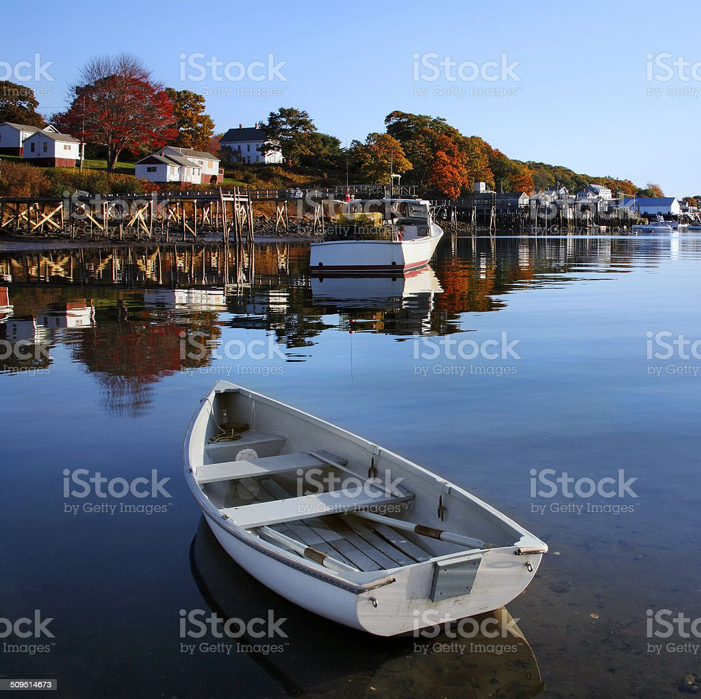 Boats At New Harbor stock photo