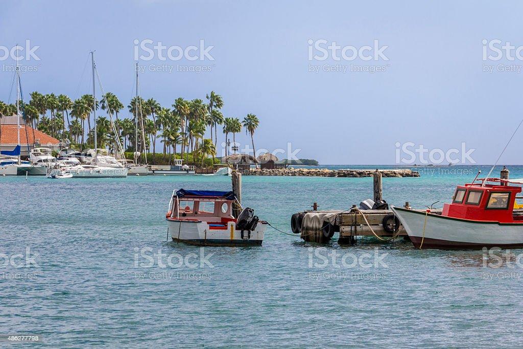 Boats at Oranjestad stock photo