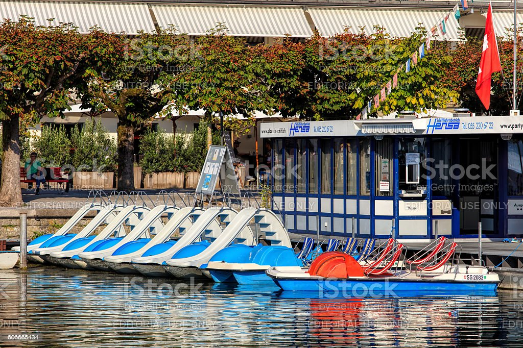 Boats at pier in Rapperswil, Switzerland stock photo