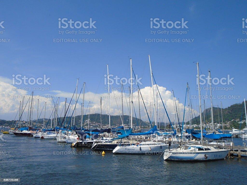 Boats at Pier - Niterói, Rio de Janeiro, Brazil stock photo