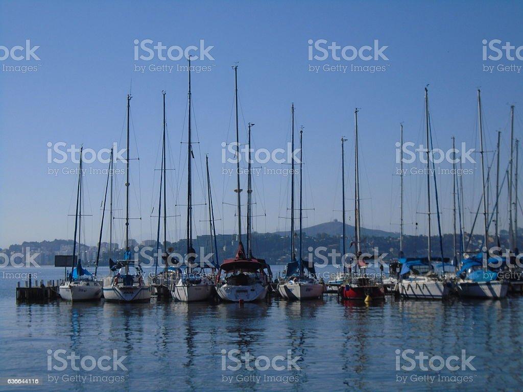 Boats at Pier - Rio de Janeiro, Brazil stock photo