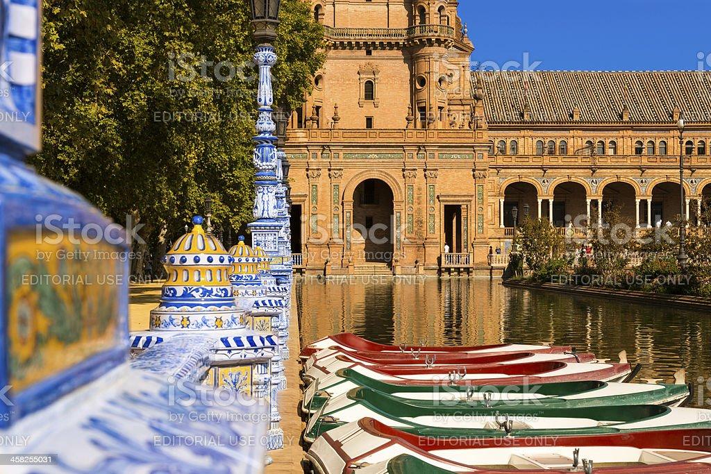 Boats at Plaza de Espana in Seville royalty-free stock photo