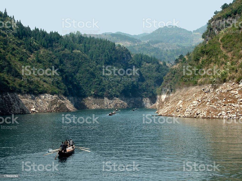 boats at River Shennong Xi royalty-free stock photo