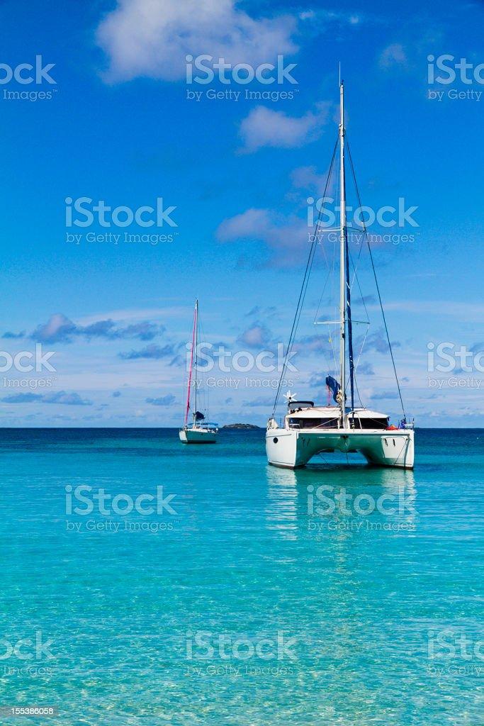 Boats at Salt Whistle Bay, Mayreau stock photo
