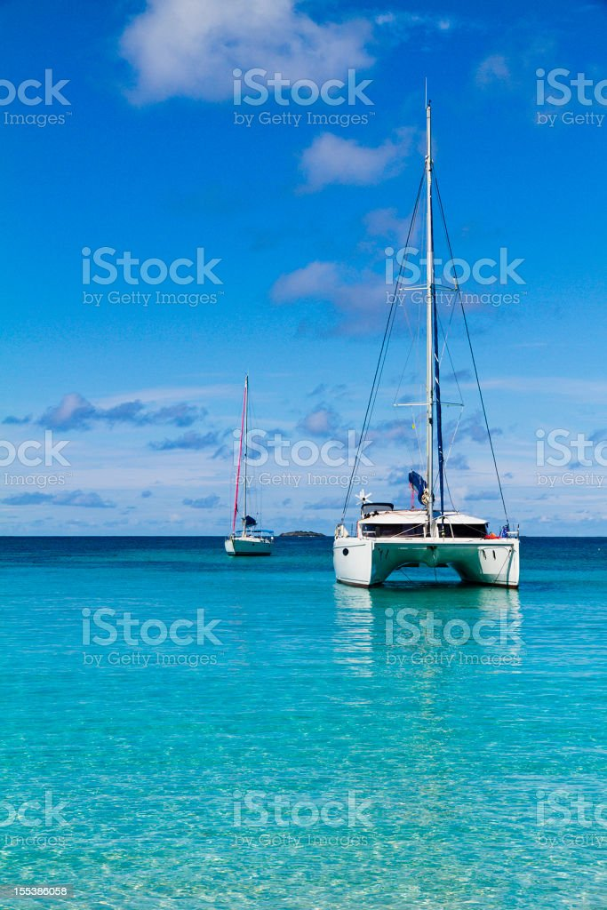 Boats at Salt Whistle Bay, Mayreau stock photo