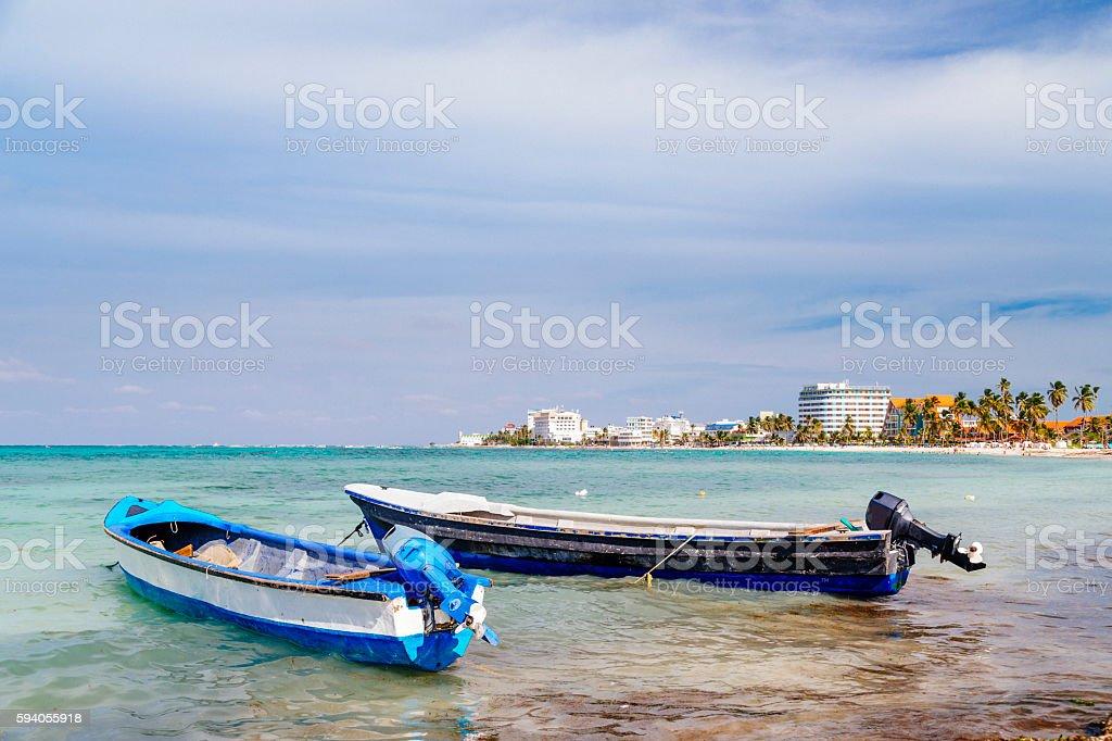 Boats at San Andrés beach stock photo