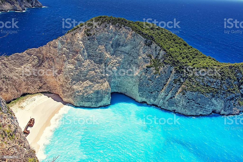 Boats At Shipwreck Beach, Zakynthos - Stock image stock photo