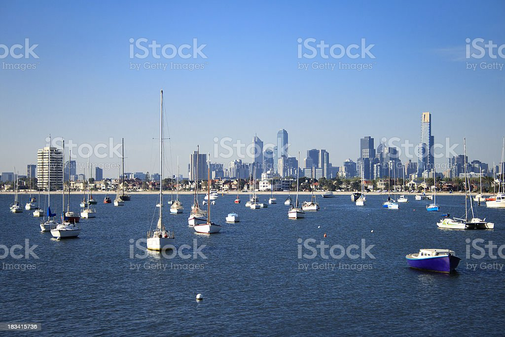 Boats at St Kilda Pier in Melbourne, Victoria, Australia stock photo