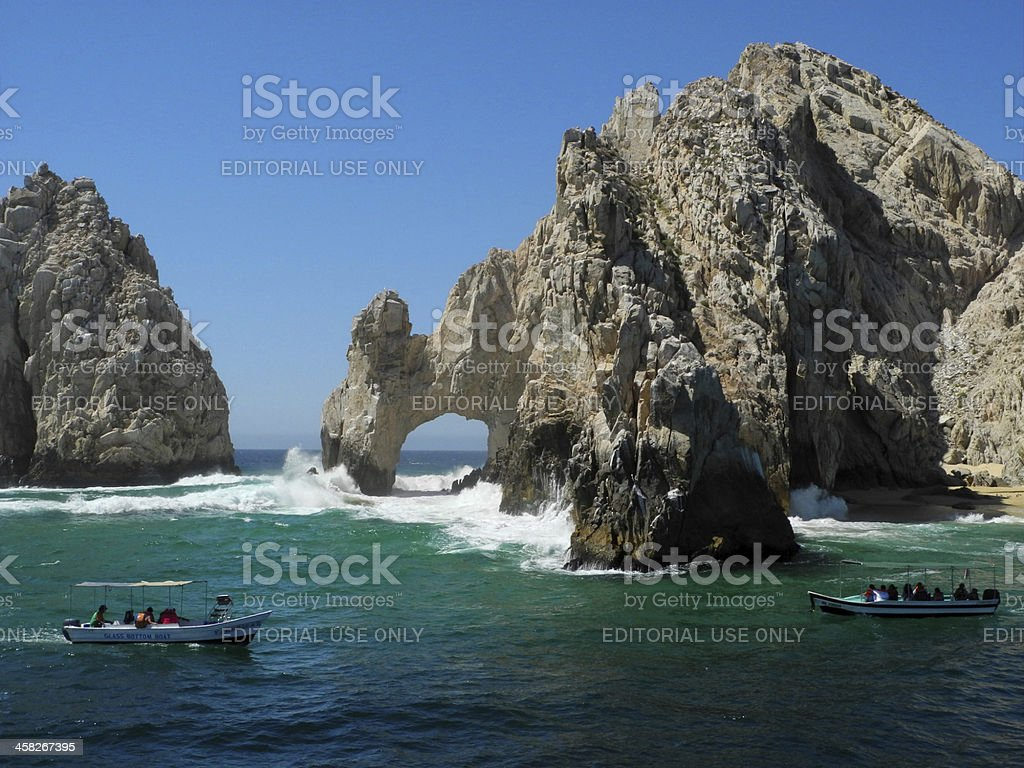 Boats at the Arch in Cabo San Lucas royalty-free stock photo