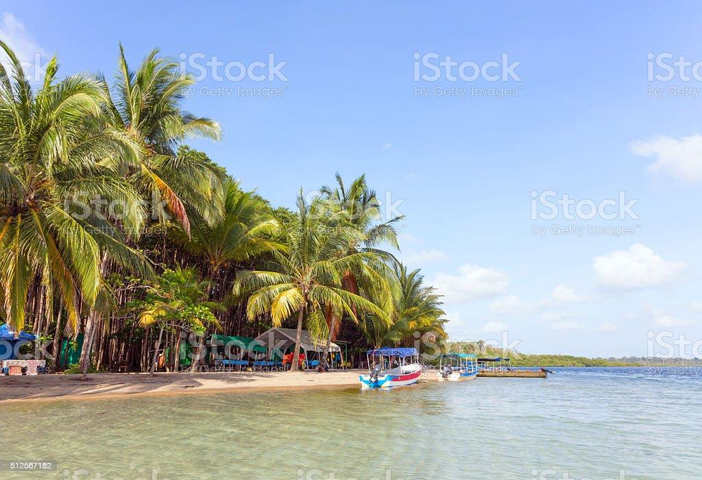 Boats at the beach, Panama stock photo