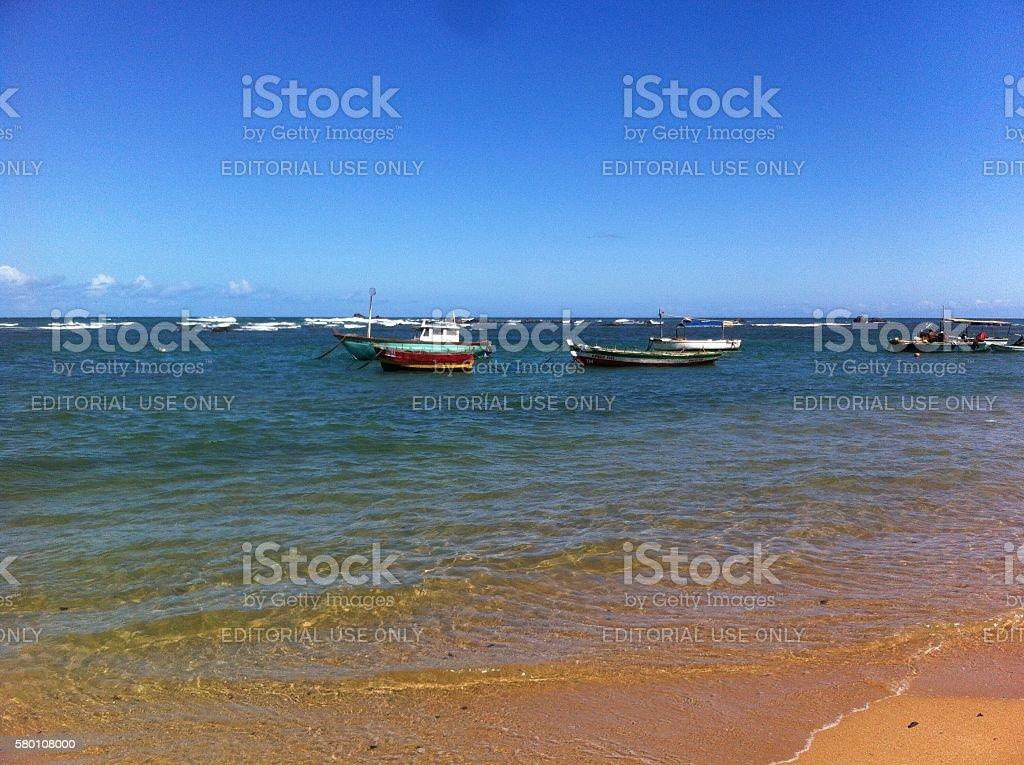 Boats at the beach. stock photo