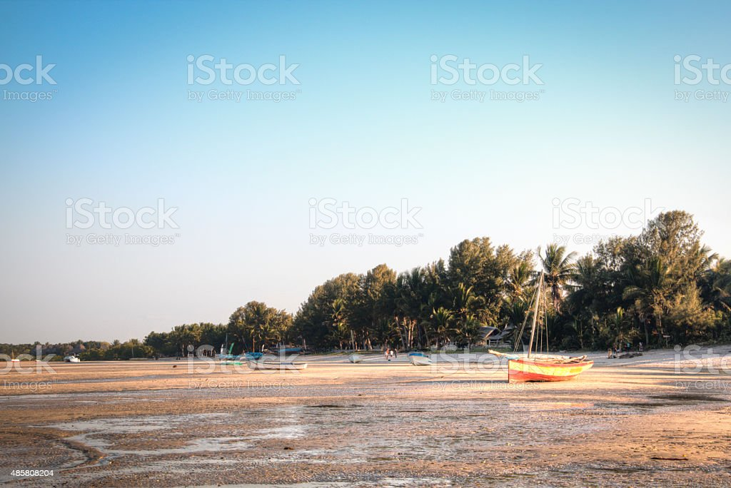 Boats at the coast of Vilanculos stock photo