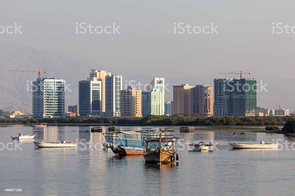 Boats at the creek of Ras Al Khaimah stock photo