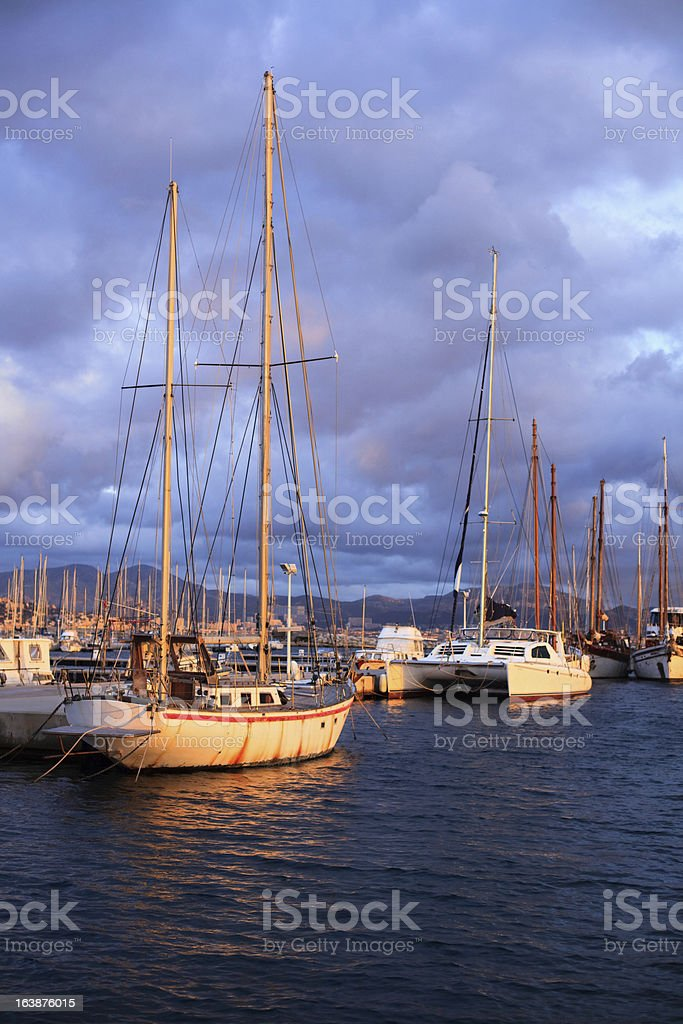 boats at the dock in a sea royalty-free stock photo