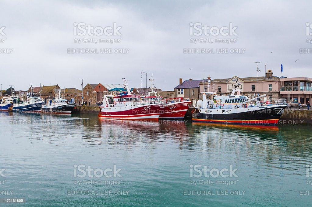 Boats at the Fishing Pier, Howth, Ireland stock photo