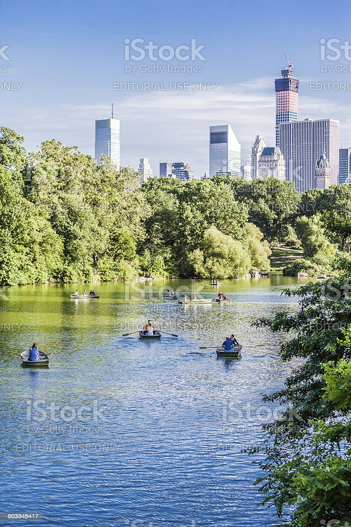 Boats at The Lake, Central Park, Manhattan royalty-free stock photo