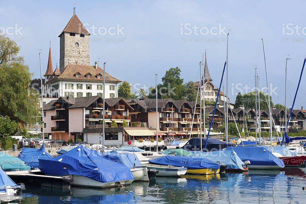 Boats at the pier of Spietz royalty-free stock photo