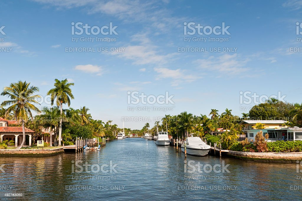 Boats at waterfront side in Fort Lauderdale stock photo