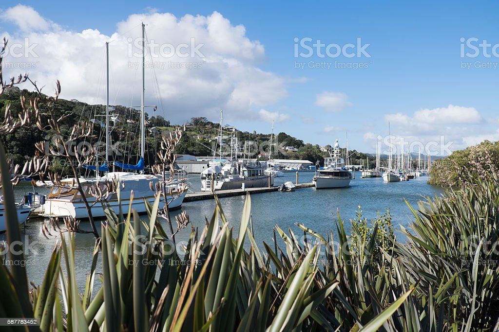 Boats at Whangarei marina in town basin stock photo