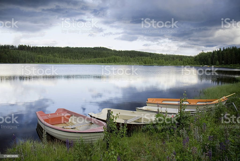 Boats by lake royalty-free stock photo