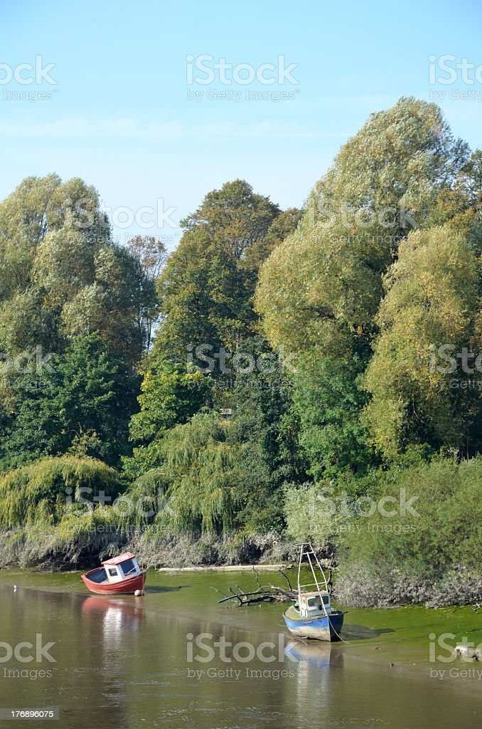 Boats by Riverbank in Chester royalty-free stock photo