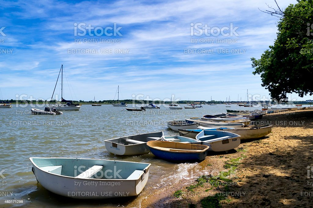 Boats by the River Deben at Waldringfield stock photo