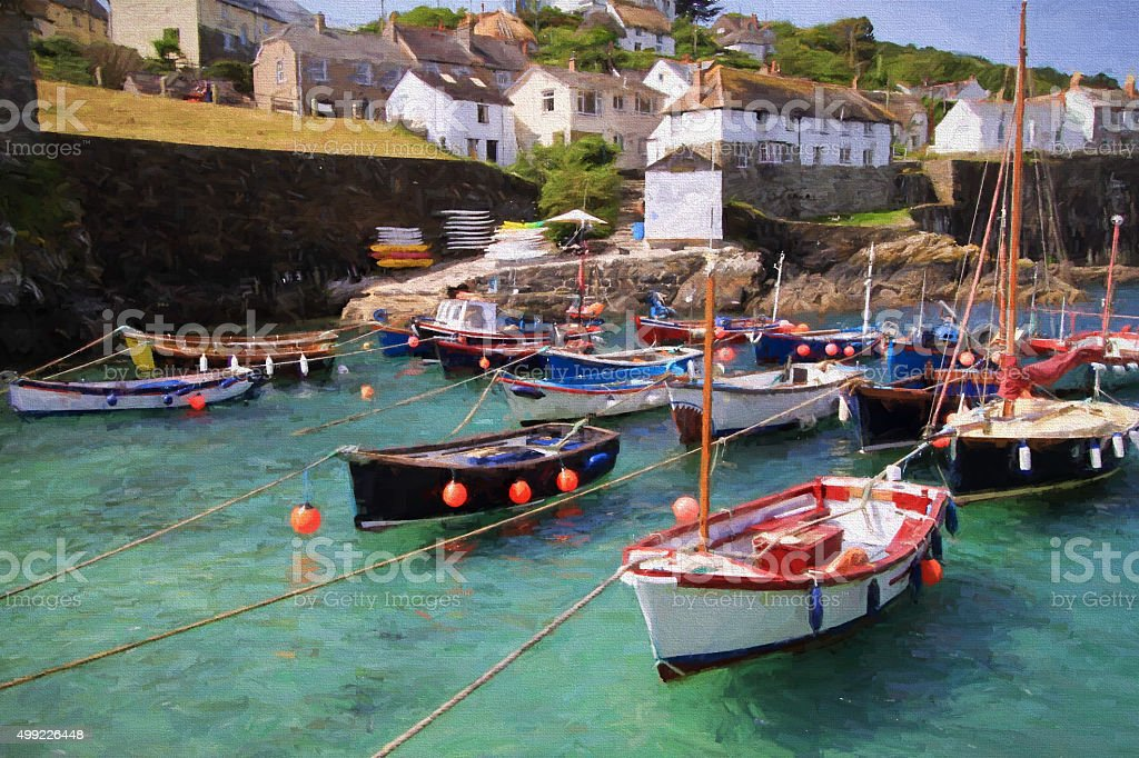 Boats Cornish harbour Coverack Cornwall fishing village illustration oil painting stock photo
