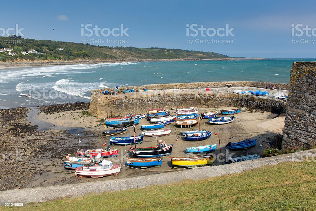 Boats Coverack harbour The Lizard peninsula Cornwall England UK summer stock photo