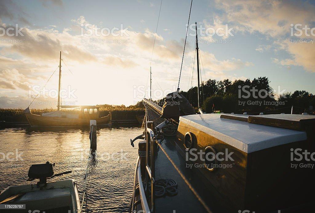 Boats Docked at a Marina royalty-free stock photo