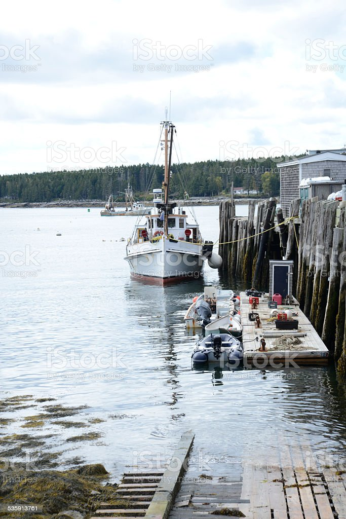 boats docked in Port Clyde, Maine stock photo