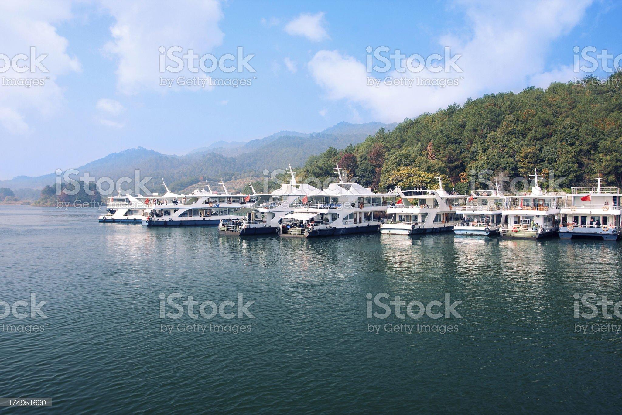 Boats docked  in the Qiandao Lake royalty-free stock photo