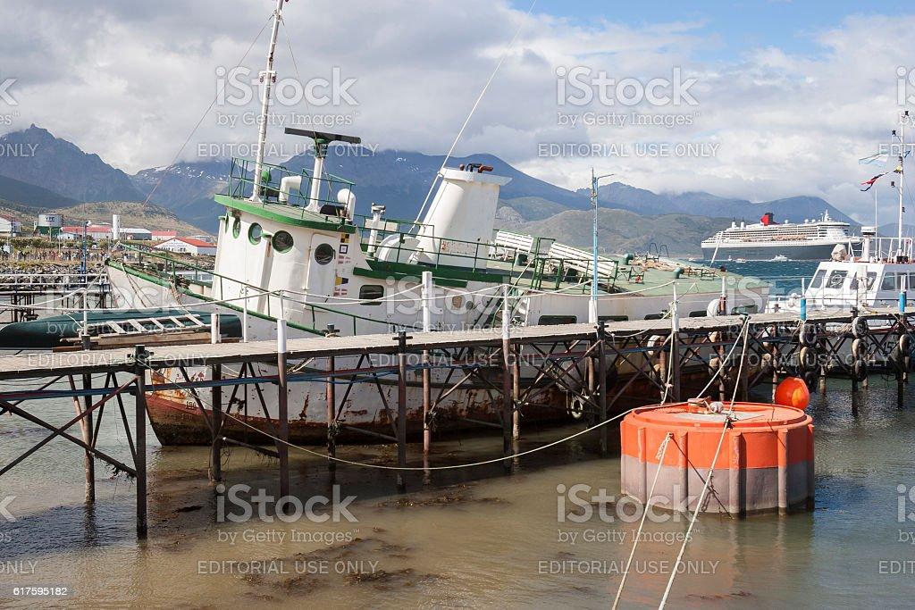 Boats docked in Ushuaia city stock photo