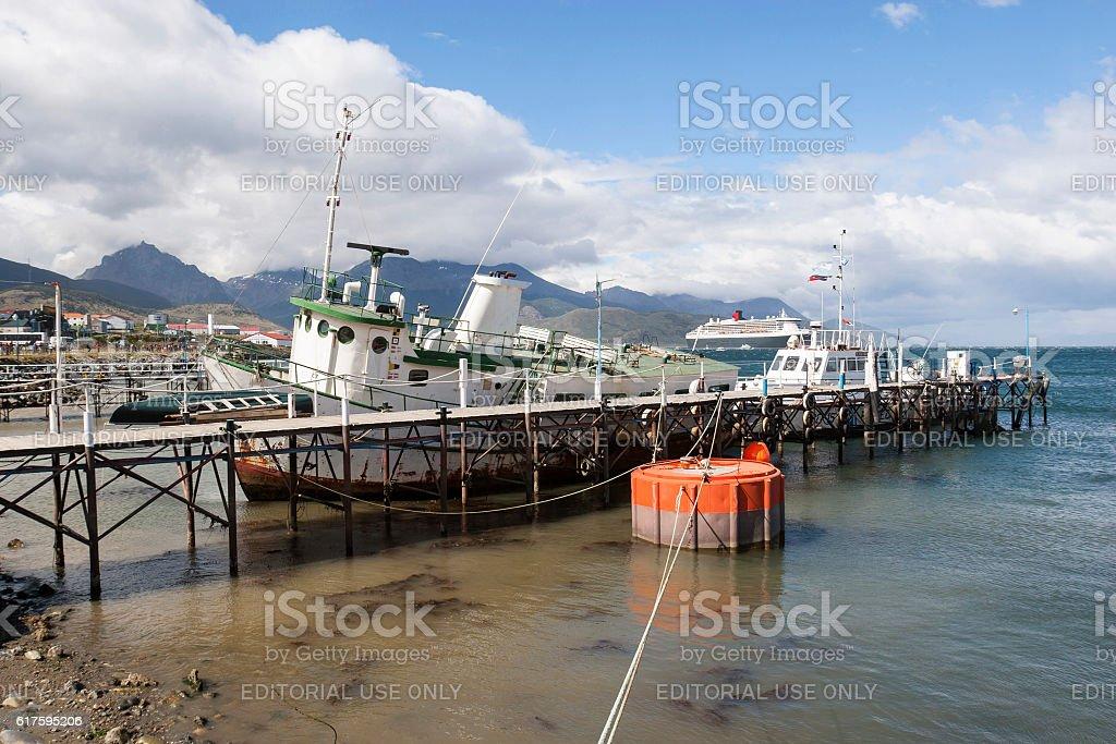 Boats docked in Ushuaia stock photo