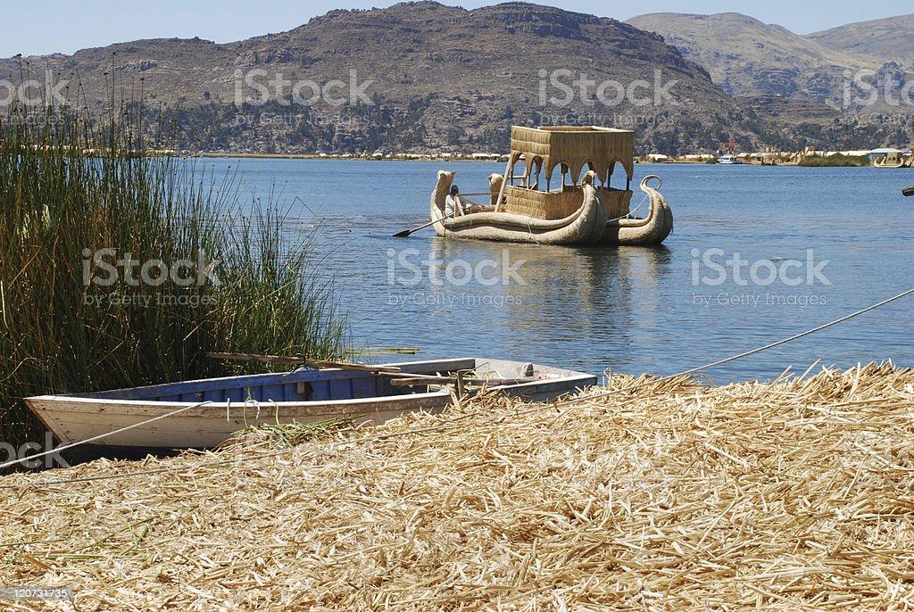 Boats Docked on Lake Titicaca royalty-free stock photo