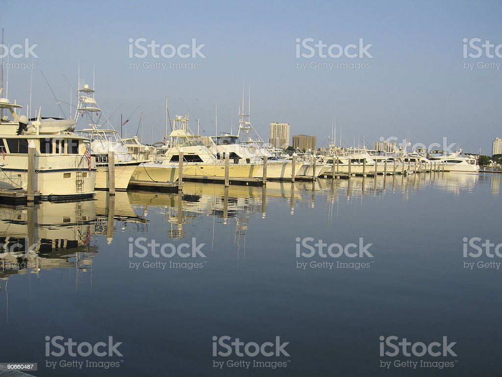 Boats Docked on Peaceful Water royalty-free stock photo
