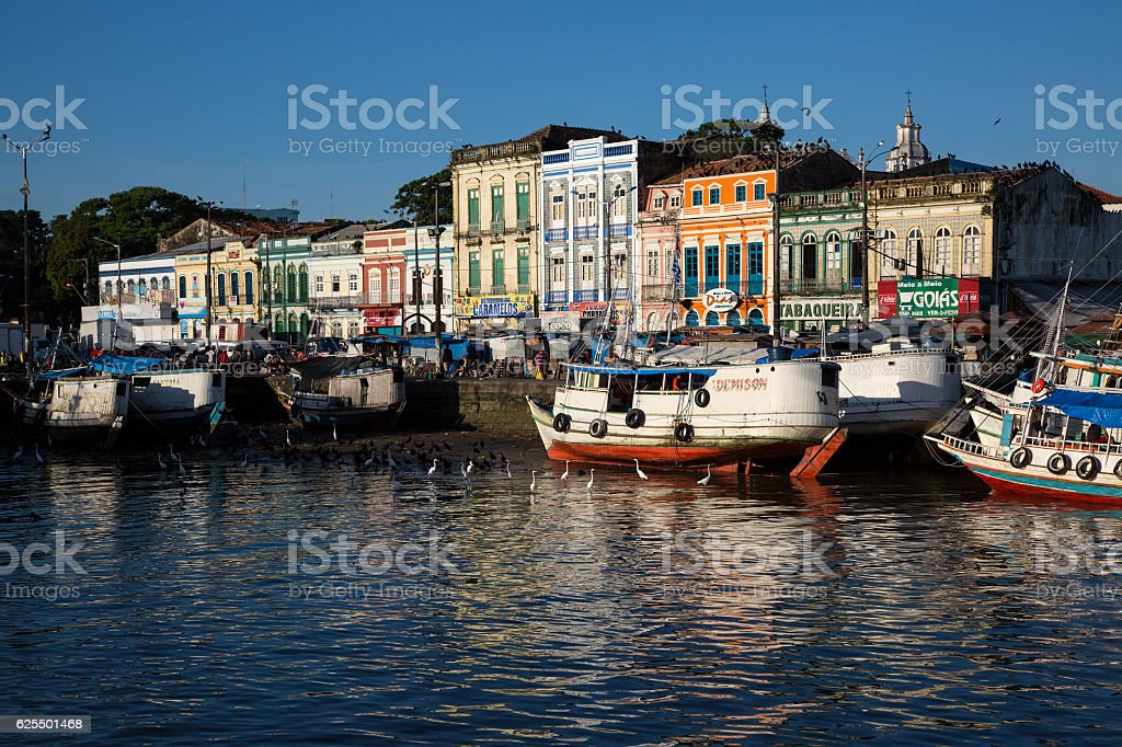 Boats docking at Mercado Ver o Peso, Belém, Brazil stock photo