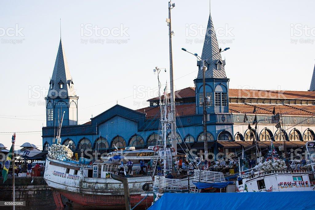 Boats docking at Mercado Ver o Peso, Belém, Brazil stock photo