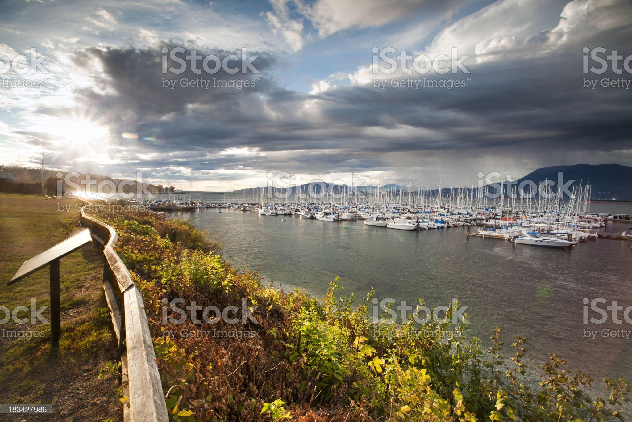 Boats float on English Bay royalty-free stock photo