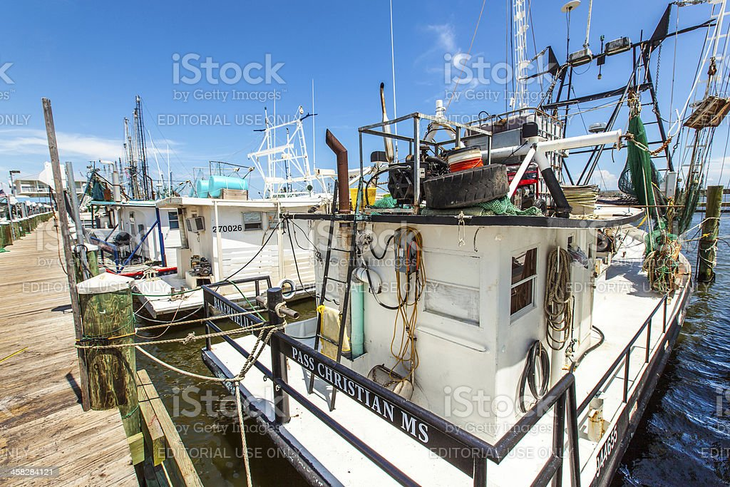 boats for shrimps fishing in Pass Christian royalty-free stock photo