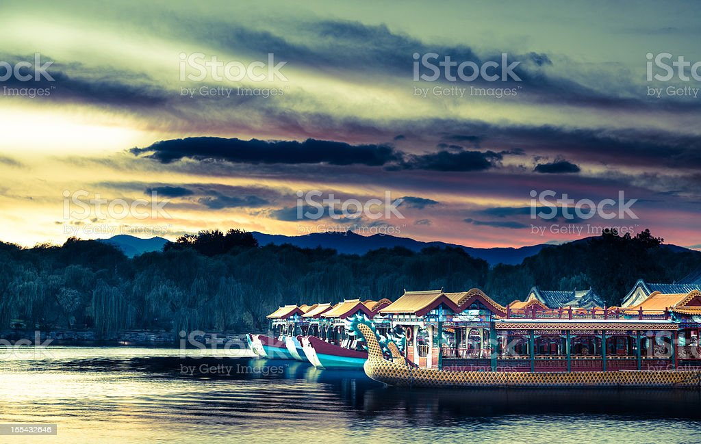 Boats from the past. Summer Palace Beijing stock photo